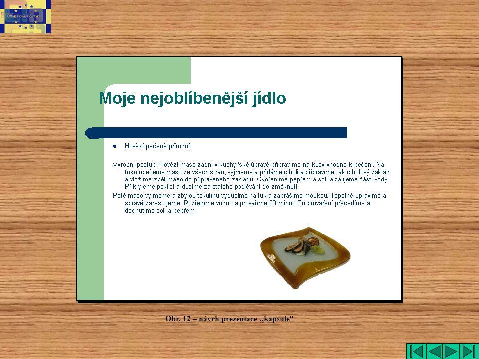 """kapsule Obr. 12 – návrh prezentace """"kapsule"""