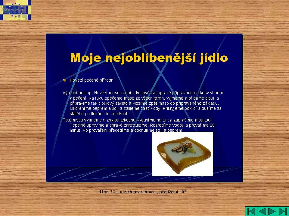 """Přetížená síť Obr. 22 – návrh prezentace """"přetížená síť"""