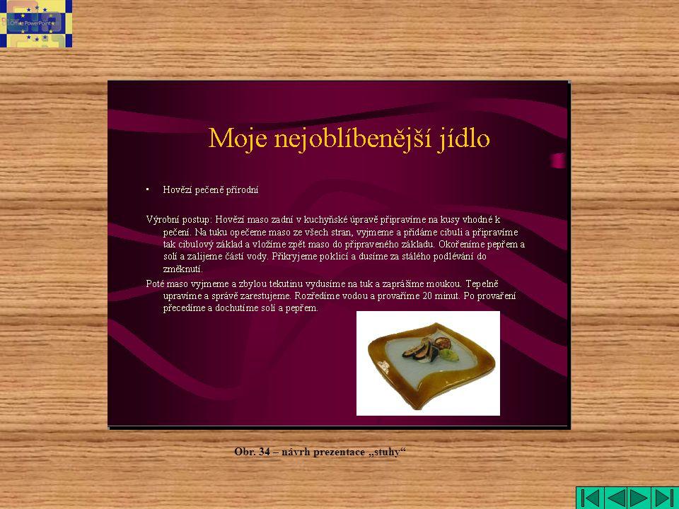 """stuhy Obr. 34 – návrh prezentace """"stuhy"""
