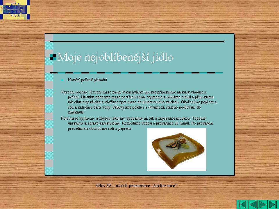 """šachovnice Obr. 35 – návrh prezentace """"šachovnice"""