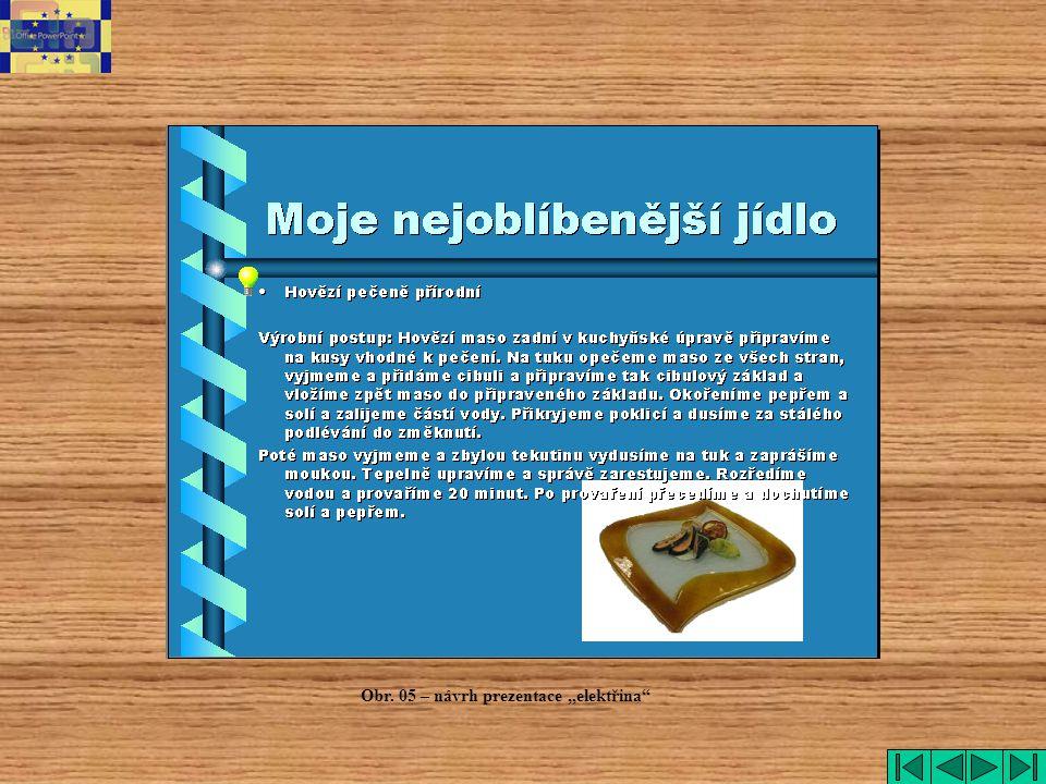 """elektřina Obr. 05 – návrh prezentace """"elektřina"""
