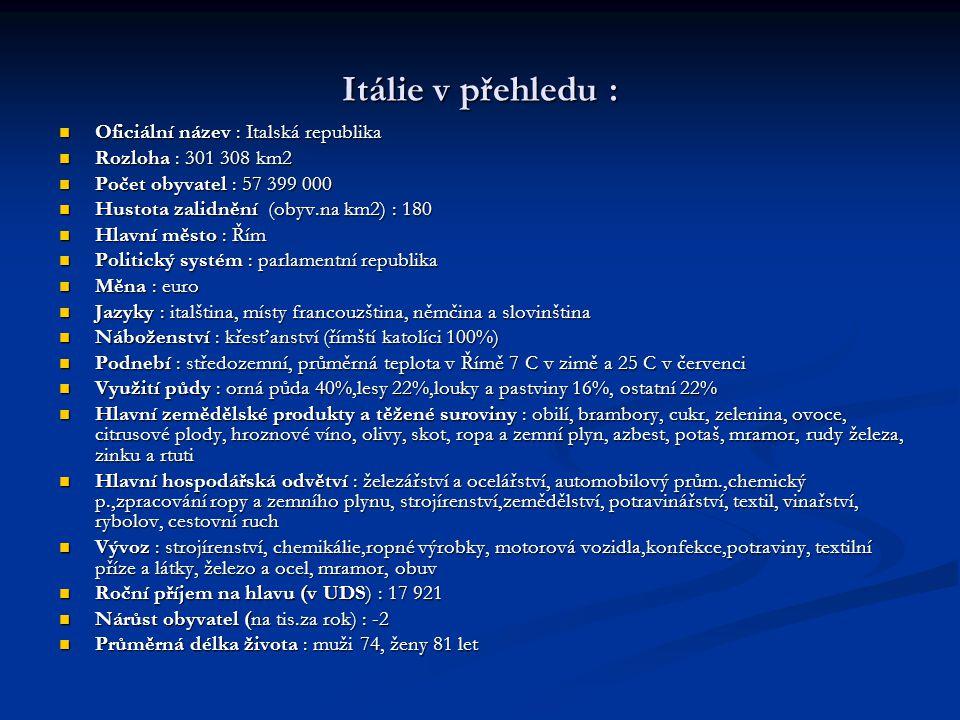 Itálie v přehledu : Oficiální název : Italská republika