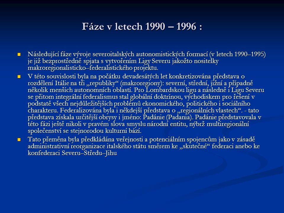 Fáze v letech 1990 – 1996 :