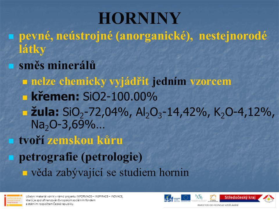 HORNINY pevné, neústrojné (anorganické), nestejnorodé látky
