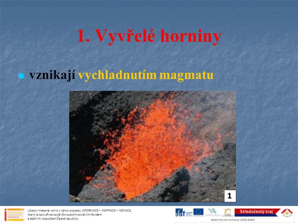 1. Vyvřelé horniny vznikají vychladnutím magmatu 1