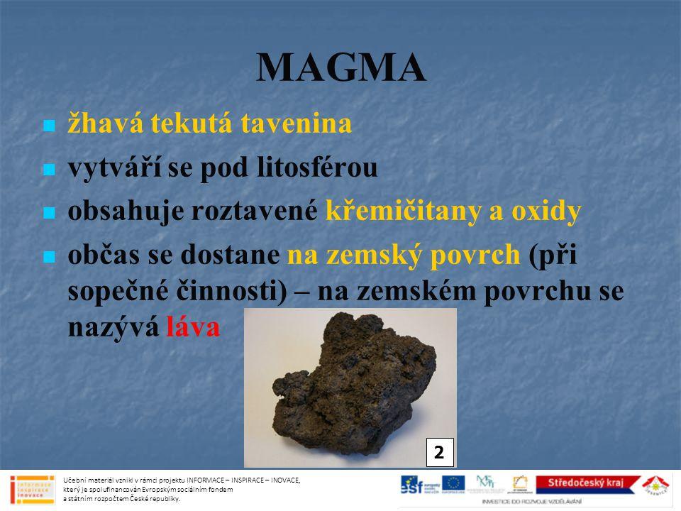 MAGMA žhavá tekutá tavenina vytváří se pod litosférou