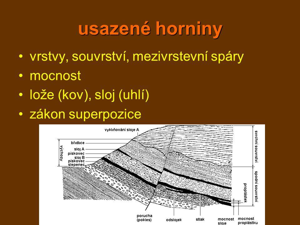usazené horniny vrstvy, souvrství, mezivrstevní spáry mocnost