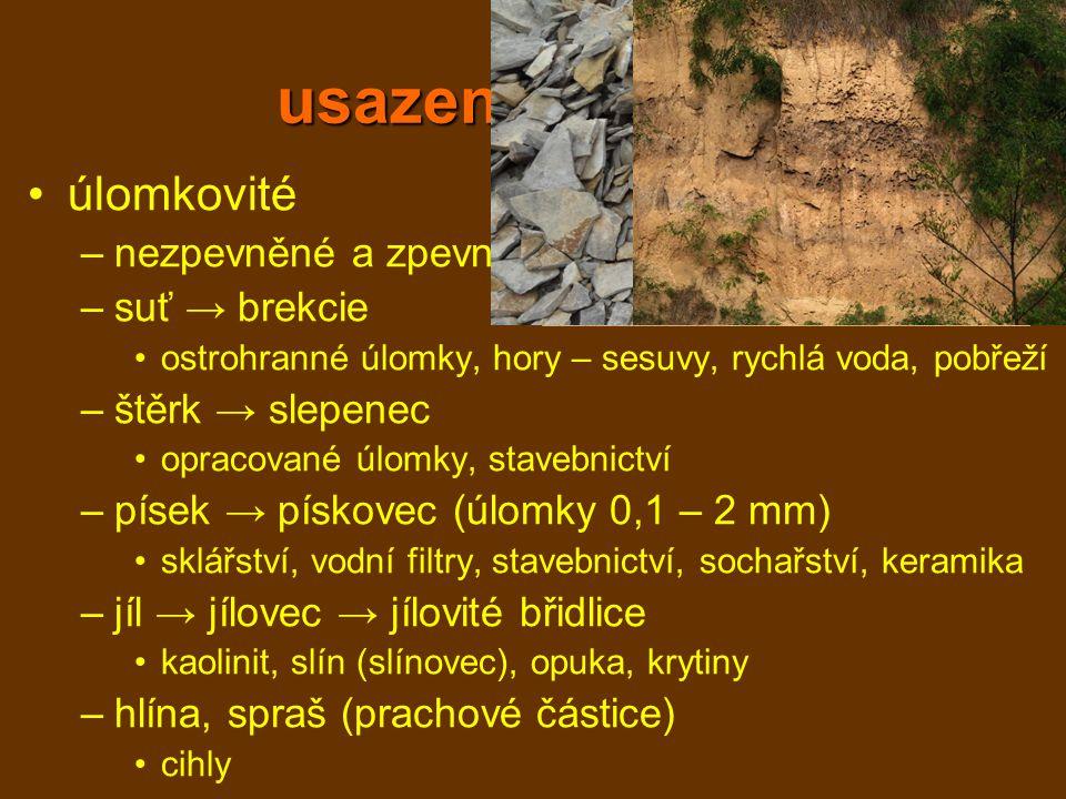 usazené horniny úlomkovité nezpevněné a zpevněné suť → brekcie