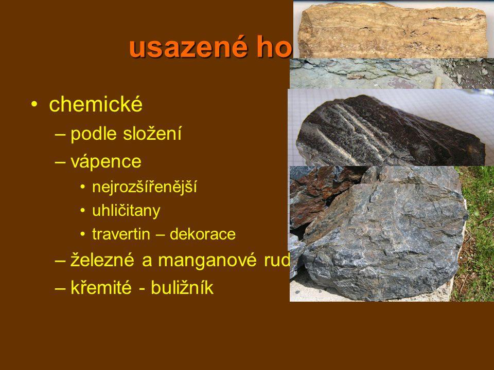 usazené horniny chemické podle složení vápence