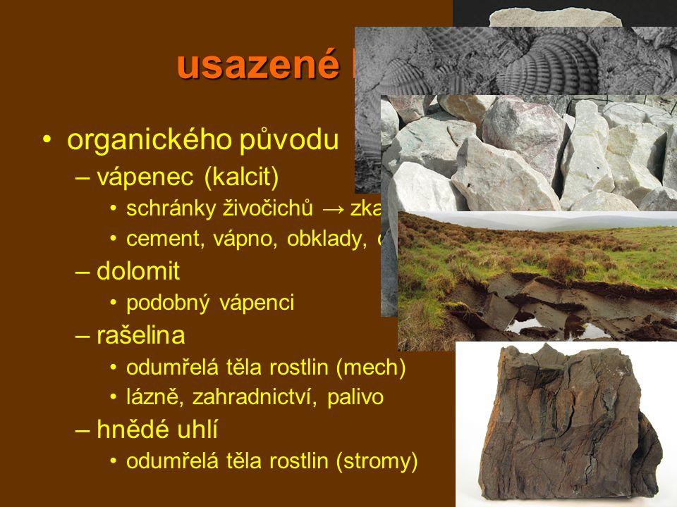 usazené horniny organického původu vápenec (kalcit) dolomit rašelina