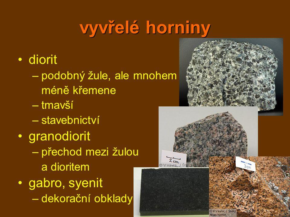 vyvřelé horniny diorit granodiorit gabro, syenit