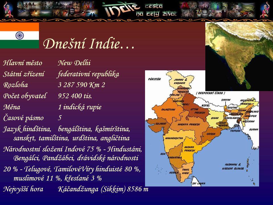 Dnešní Indie… Hlavní město New Delhi