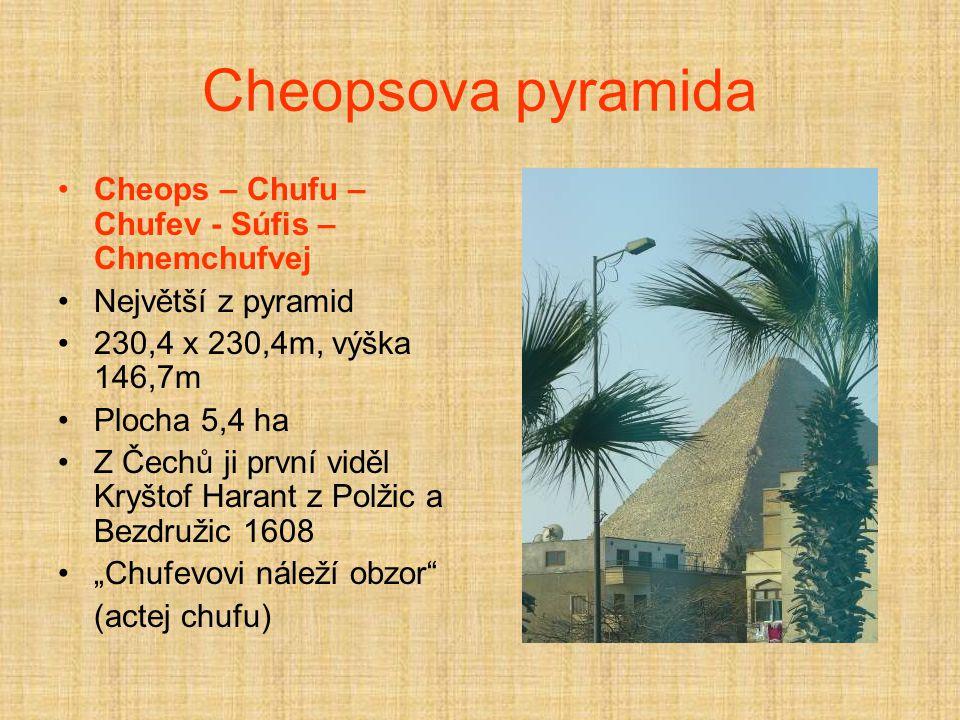 Cheopsova pyramida Cheops – Chufu – Chufev - Súfis –Chnemchufvej