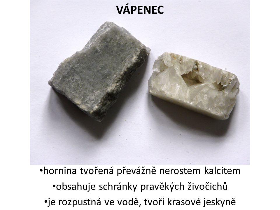 VÁPENEC hornina tvořená převážně nerostem kalcitem
