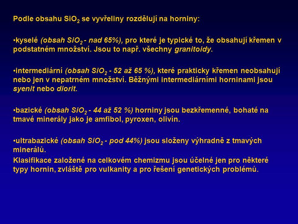 Podle obsahu SiO2 se vyvřeliny rozdělují na horniny: