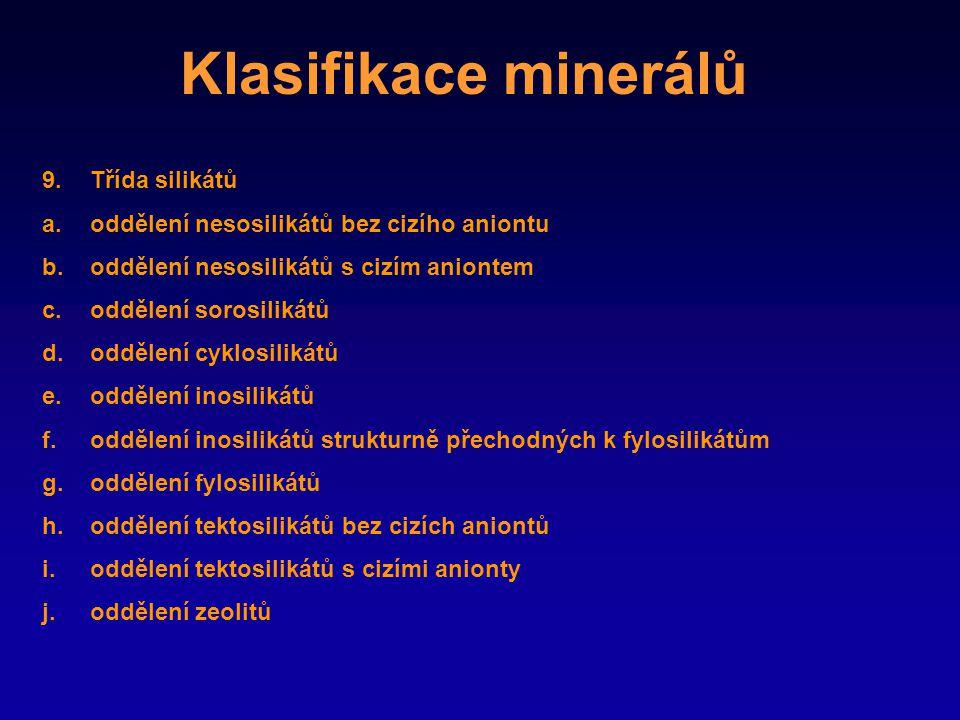Klasifikace minerálů Třída silikátů
