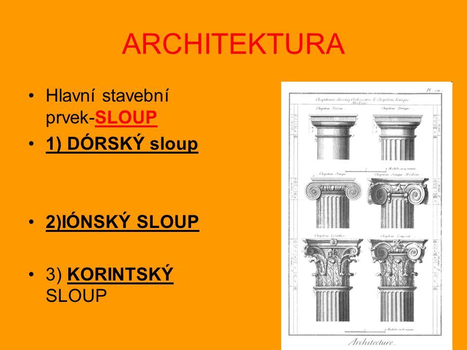 ARCHITEKTURA Hlavní stavební prvek-SLOUP 1) DÓRSKÝ sloup