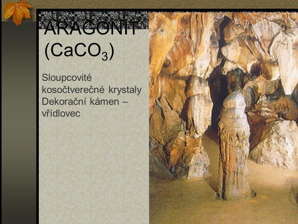 ARAGONIT (CaCO3) Sloupcovité kosočtverečné krystaly Dekorační kámen –