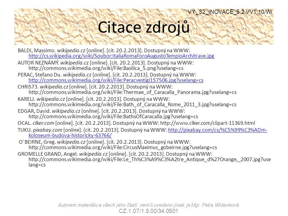 Citace zdrojů VY_32_INOVACE_5.2.VV1.10/Wi