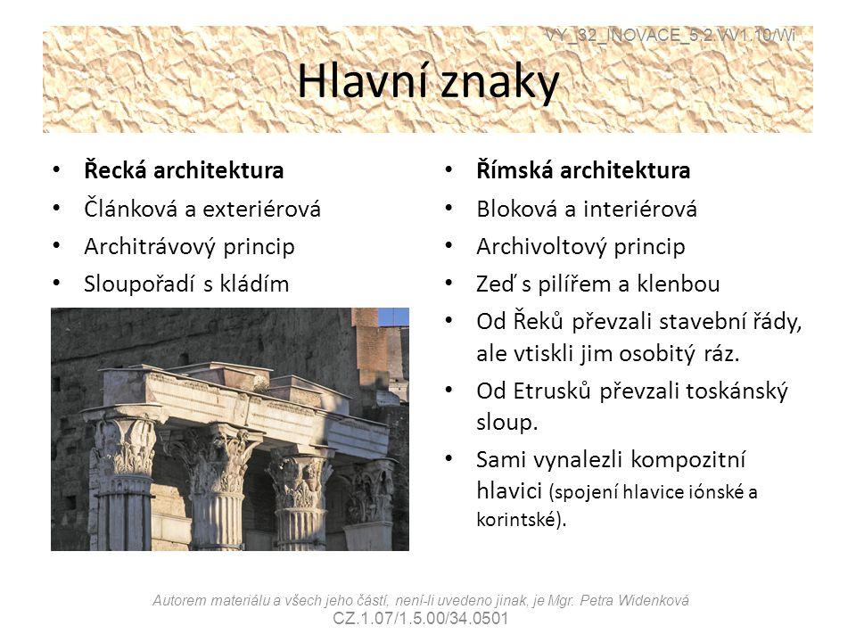 Hlavní znaky Řecká architektura Článková a exteriérová