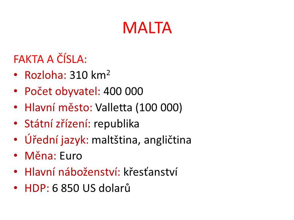 MALTA FAKTA A ČÍSLA: Rozloha: 310 km2 Počet obyvatel: 400 000