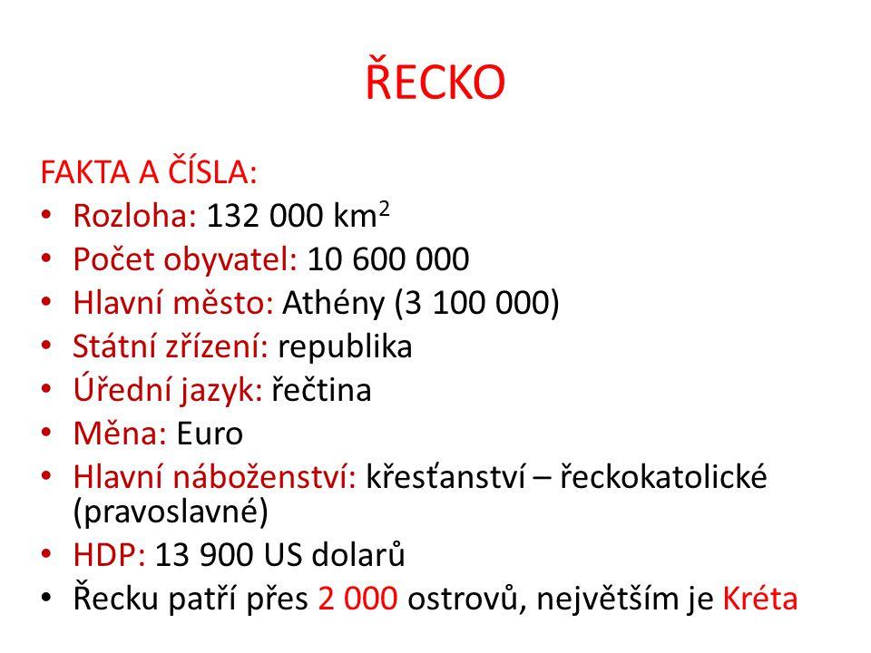 ŘECKO FAKTA A ČÍSLA: Rozloha: 132 000 km2 Počet obyvatel: 10 600 000