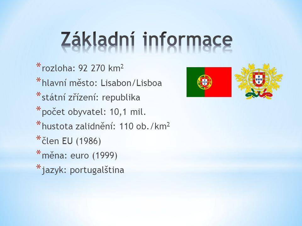 Základní informace rozloha: 92 270 km2 hlavní město: Lisabon/Lisboa