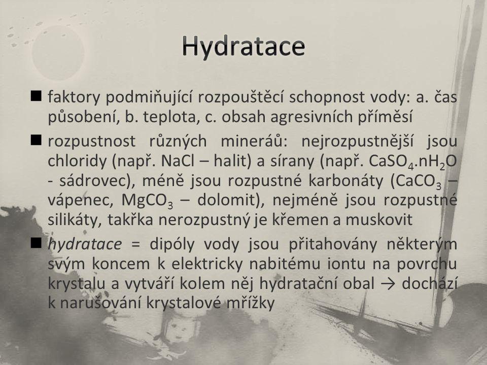 Hydratace faktory podmiňující rozpouštěcí schopnost vody: a. čas působení, b. teplota, c. obsah agresivních příměsí.