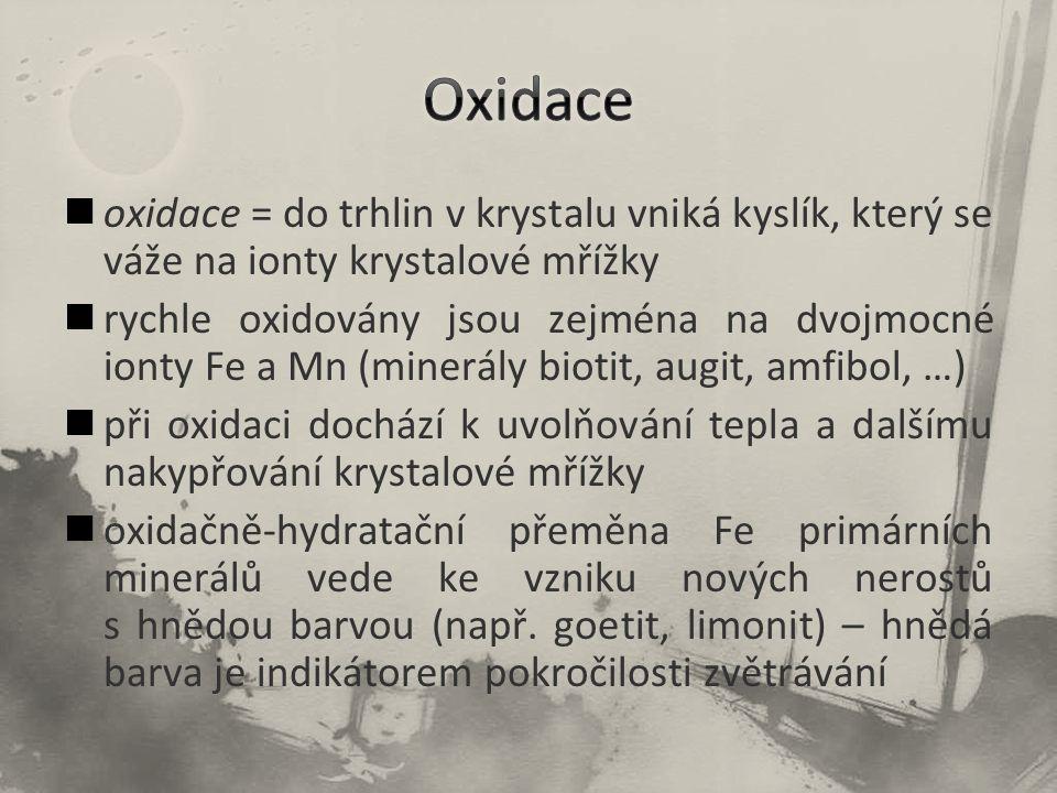 Oxidace oxidace = do trhlin v krystalu vniká kyslík, který se váže na ionty krystalové mřížky.