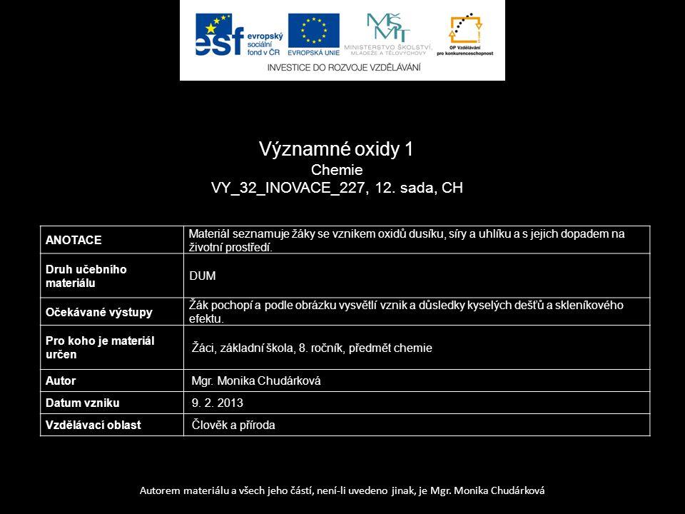 Významné oxidy 1 Chemie VY_32_INOVACE_227, 12. sada, CH ANOTACE