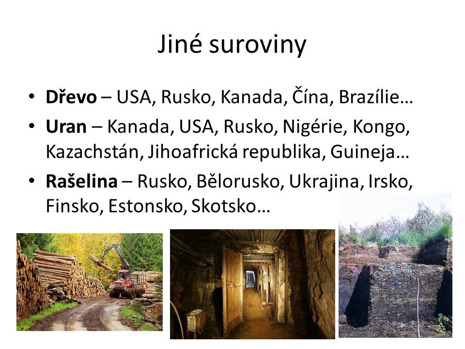 Jiné suroviny Dřevo – USA, Rusko, Kanada, Čína, Brazílie…