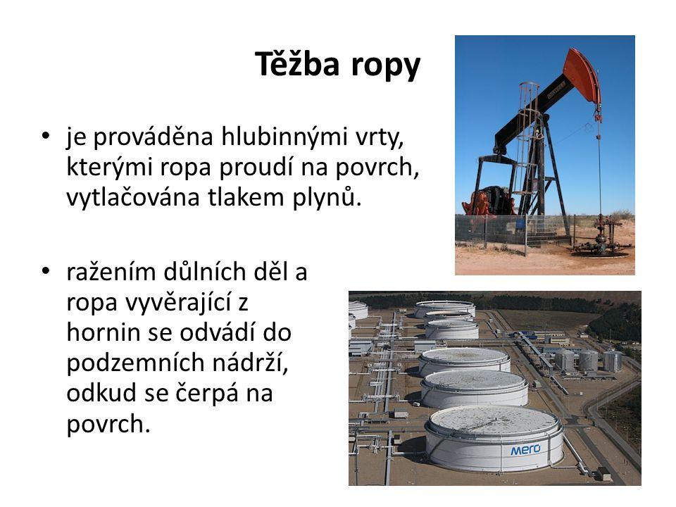 Těžba ropy je prováděna hlubinnými vrty, kterými ropa proudí na povrch, vytlačována tlakem plynů.