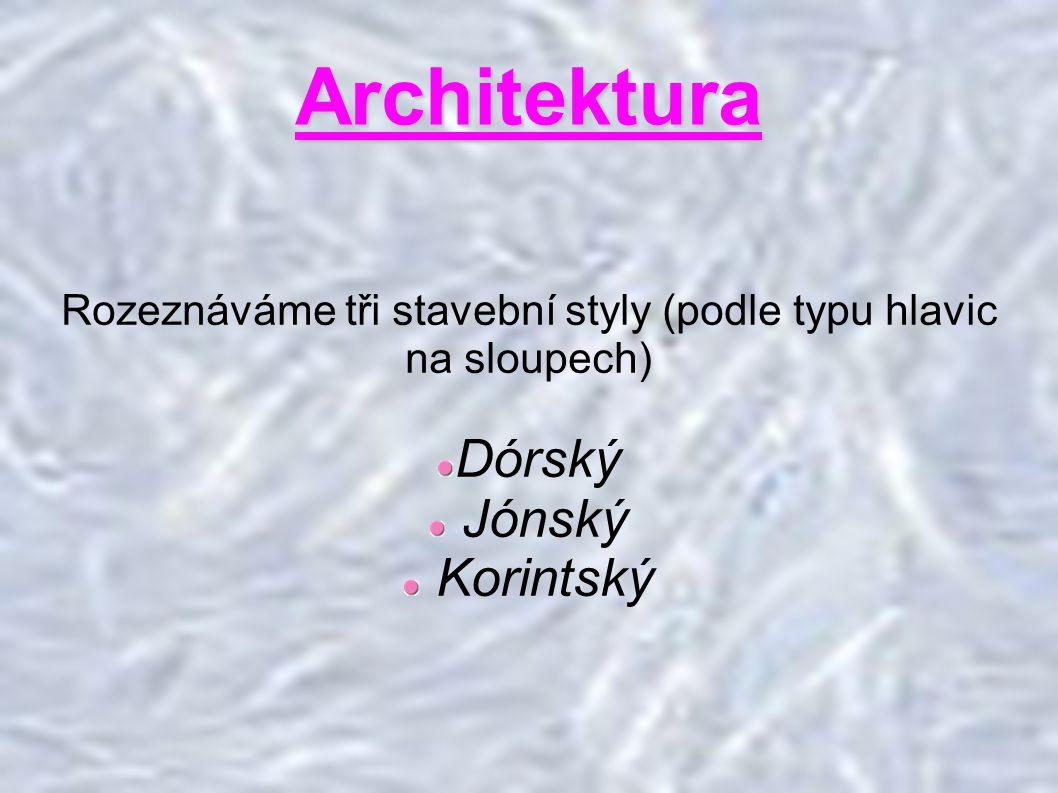 Rozeznáváme tři stavební styly (podle typu hlavic na sloupech)