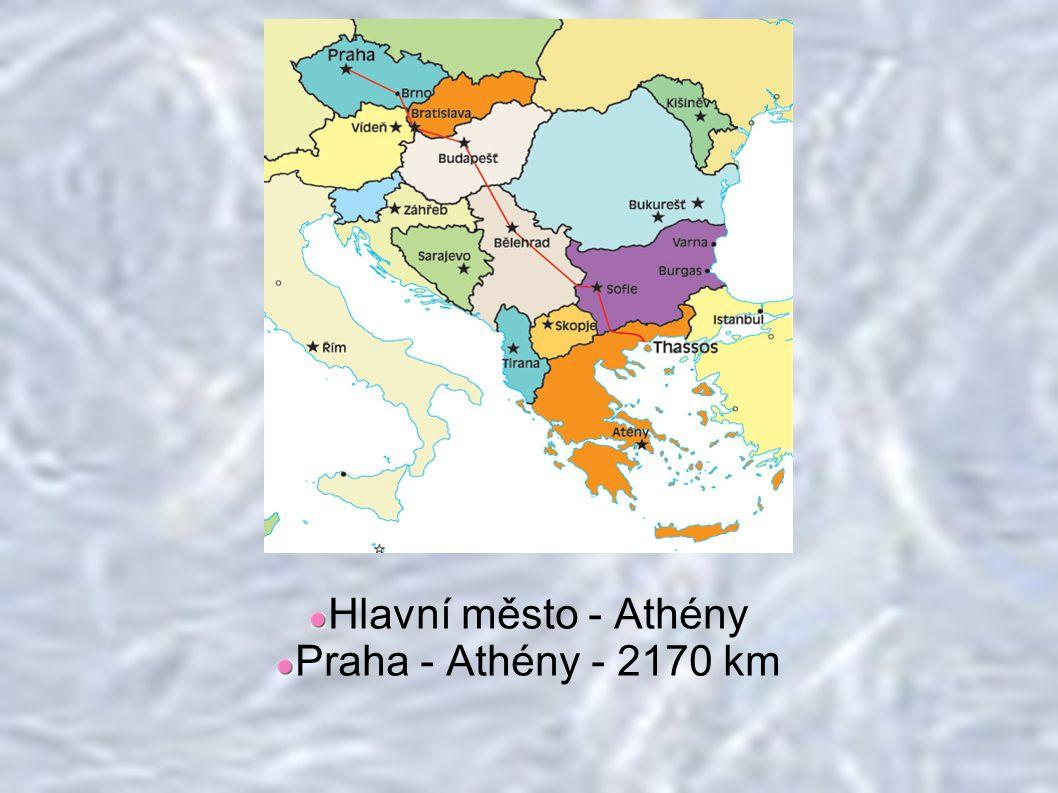 Hlavní město - Athény Praha - Athény - 2170 km