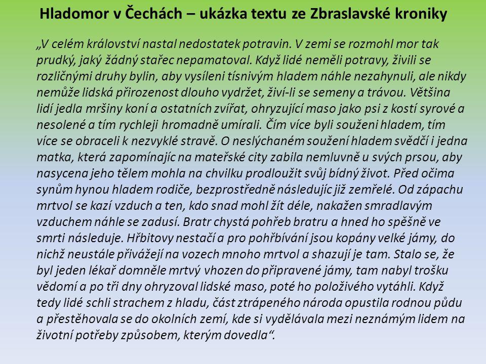 Hladomor v Čechách – ukázka textu ze Zbraslavské kroniky