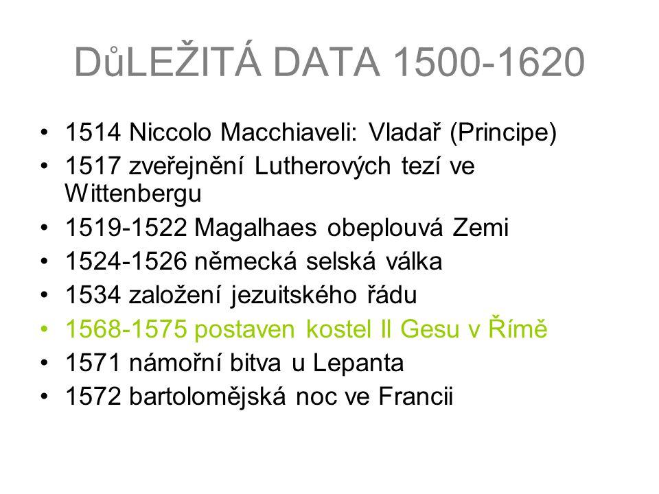 DůLEŽITÁ DATA 1500-1620 1514 Niccolo Macchiaveli: Vladař (Principe)