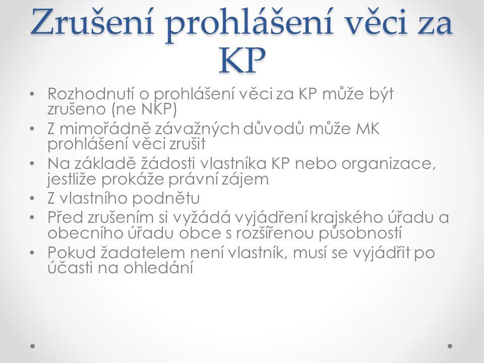Zrušení prohlášení věci za KP