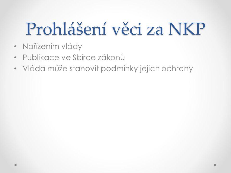 Prohlášení věci za NKP Nařízením vlády Publikace ve Sbírce zákonů