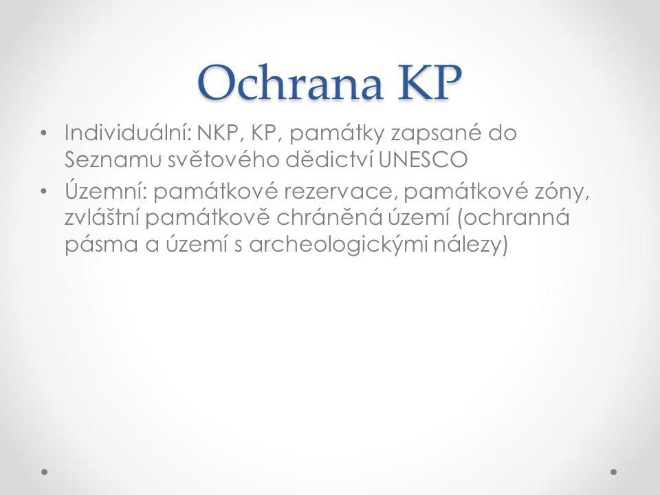 Ochrana KP Individuální: NKP, KP, památky zapsané do Seznamu světového dědictví UNESCO.