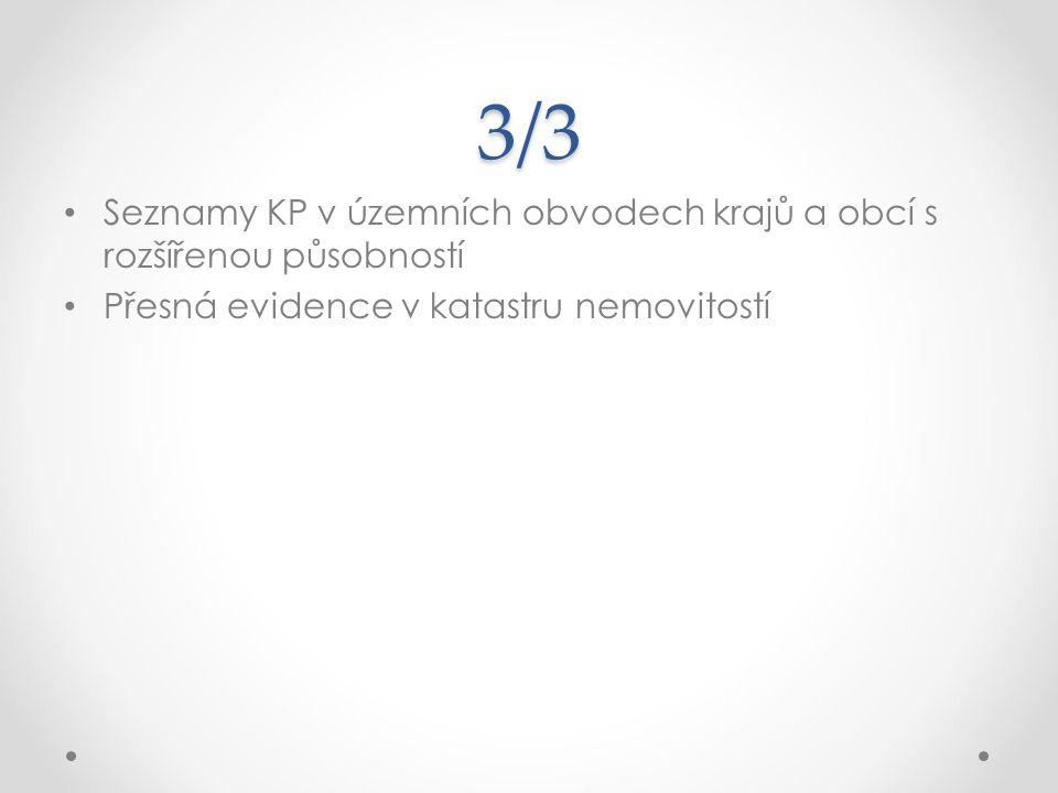 3/3 Seznamy KP v územních obvodech krajů a obcí s rozšířenou působností.