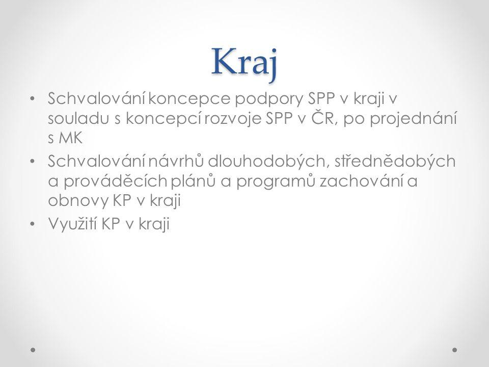 Kraj Schvalování koncepce podpory SPP v kraji v souladu s koncepcí rozvoje SPP v ČR, po projednání s MK.