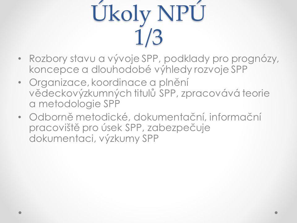 Úkoly NPÚ 1/3 Rozbory stavu a vývoje SPP, podklady pro prognózy, koncepce a dlouhodobé výhledy rozvoje SPP.
