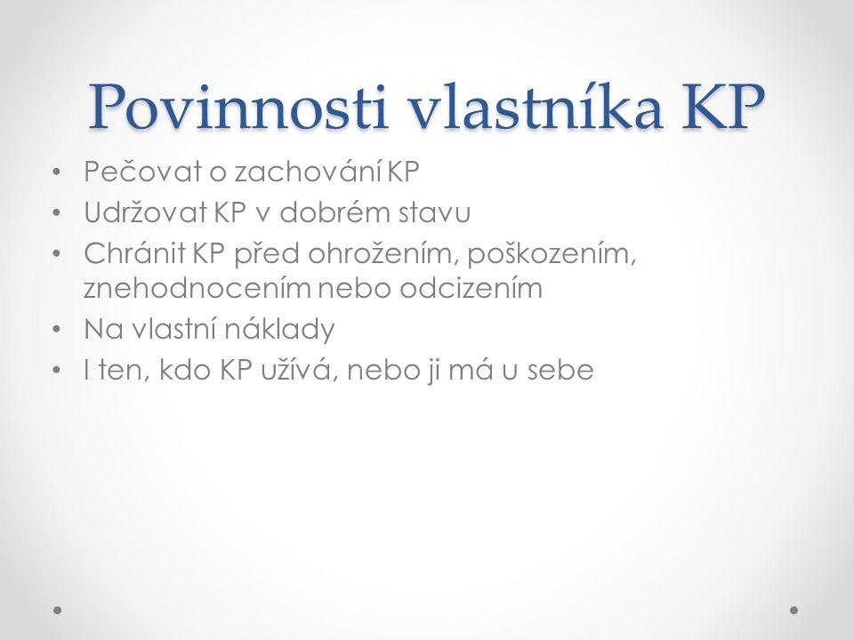 Povinnosti vlastníka KP