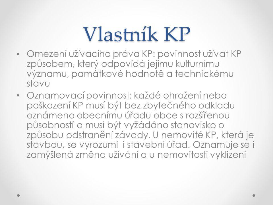 Vlastník KP Omezení užívacího práva KP: povinnost užívat KP způsobem, který odpovídá jejímu kulturnímu významu, památkové hodnotě a technickému stavu.