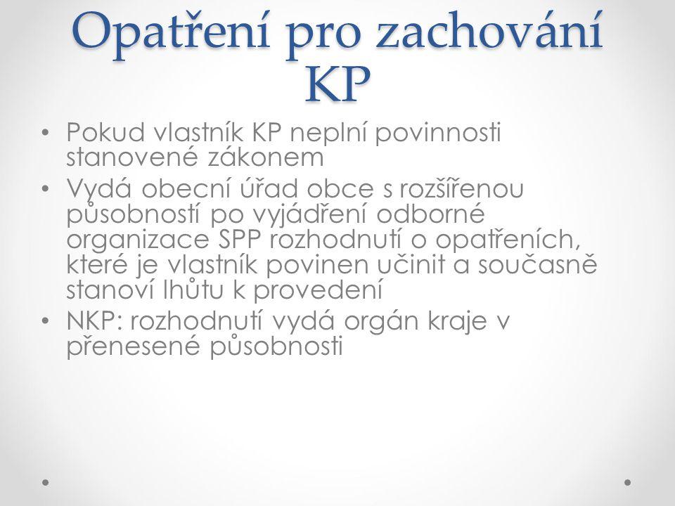 Opatření pro zachování KP