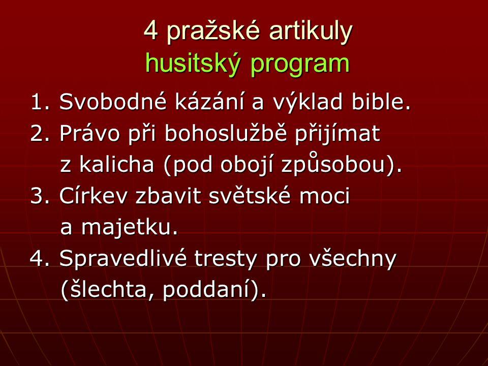 4 pražské artikuly husitský program