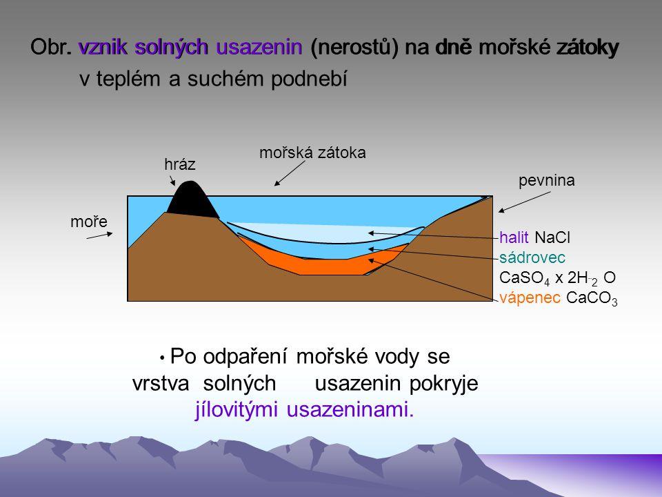 Obr. vznik solných usazenin (nerostů) na dně mořské zátoky