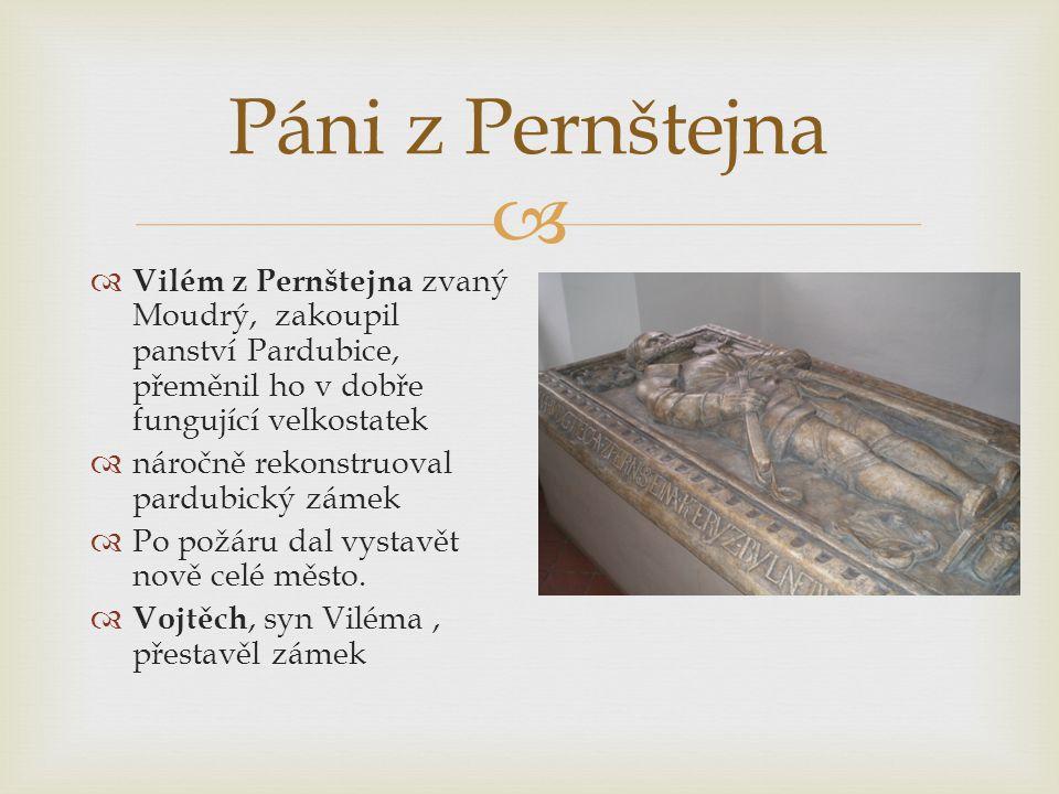Páni z Pernštejna Vilém z Pernštejna zvaný Moudrý, zakoupil panství Pardubice, přeměnil ho v dobře fungující velkostatek.