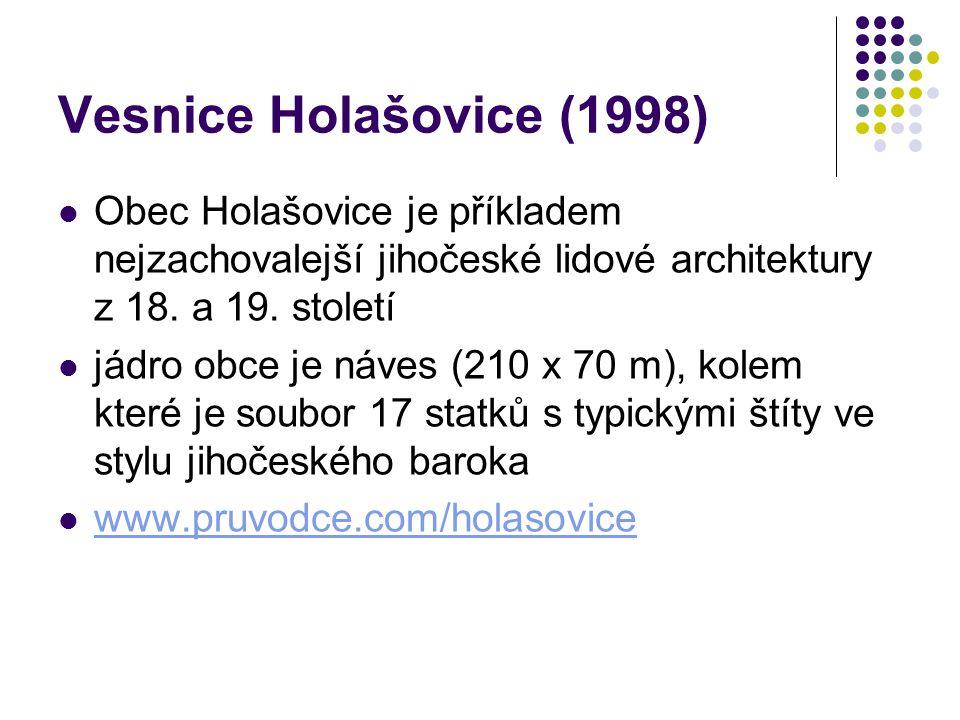 Vesnice Holašovice (1998) Obec Holašovice je příkladem nejzachovalejší jihočeské lidové architektury z 18. a 19. století.