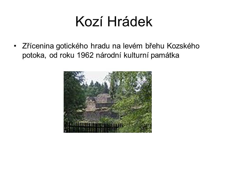 Kozí Hrádek Zřícenina gotického hradu na levém břehu Kozského potoka, od roku 1962 národní kulturní památka.